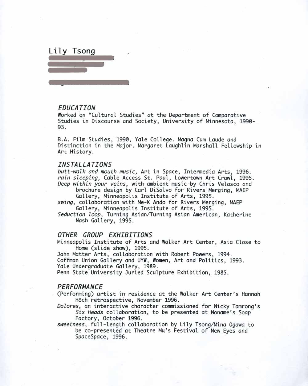 Lily Tsong's Resume, pg 1